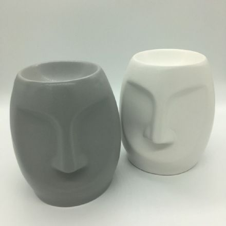 Grey Or White Moai Head Wax Burner & Wax Melts